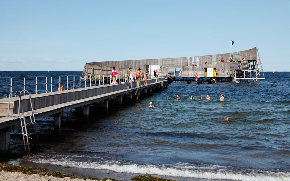 Kastrup Sobad, Kastrup Public Baths on Amager, Copenhagen.  Architect designed bathing platform built of the African wood Azobe.